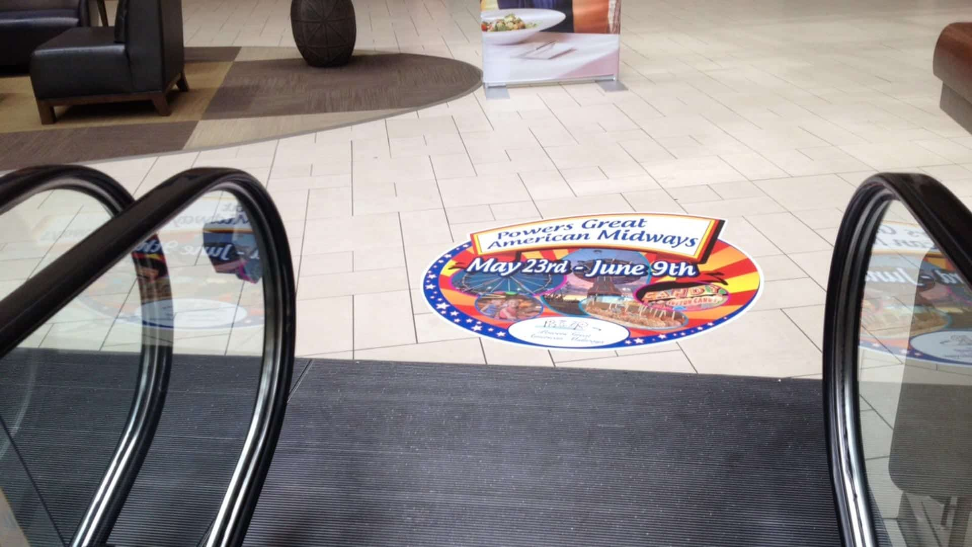 Floor graphic inside a mall