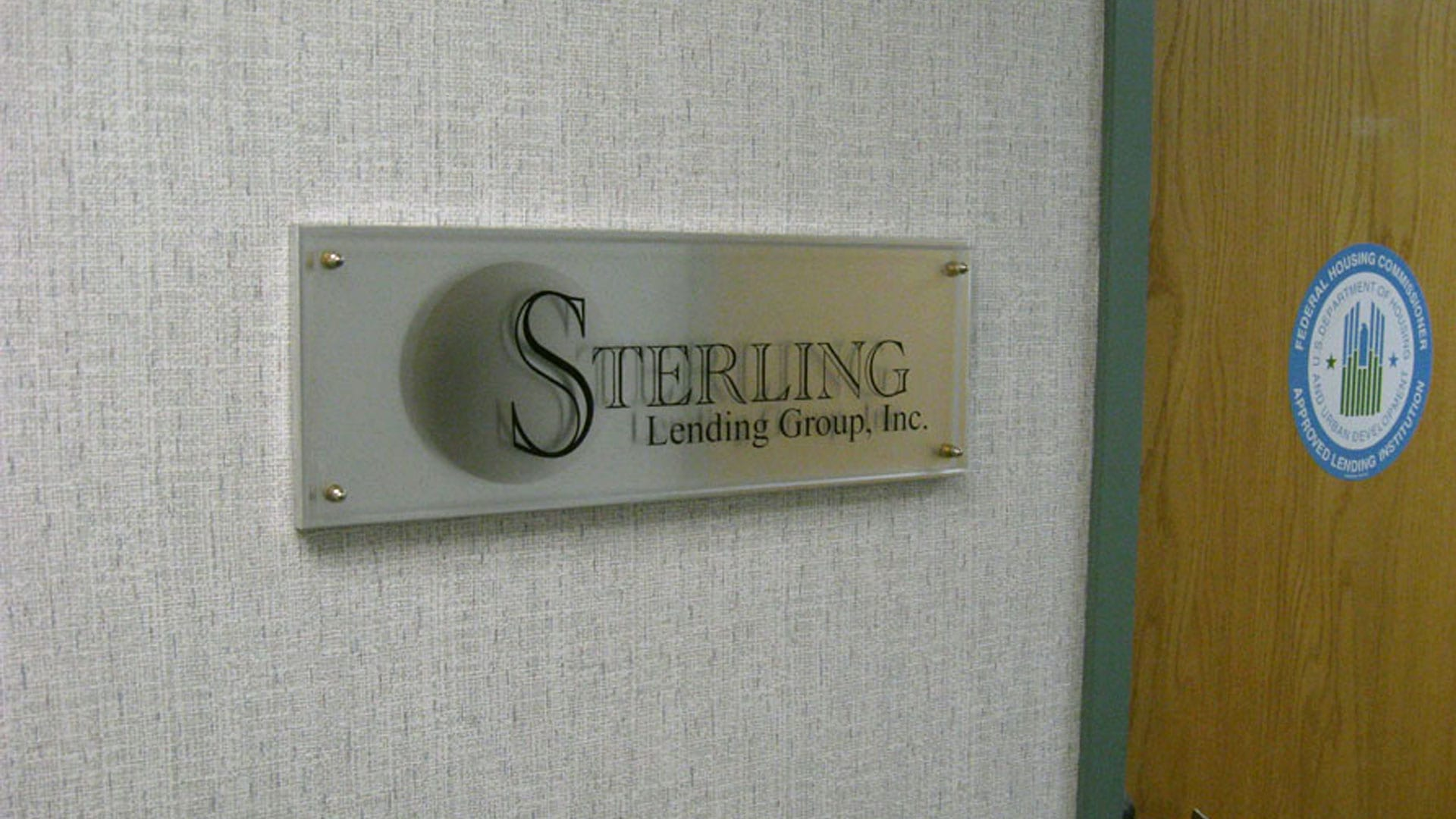 Sterling Lending group door signs
