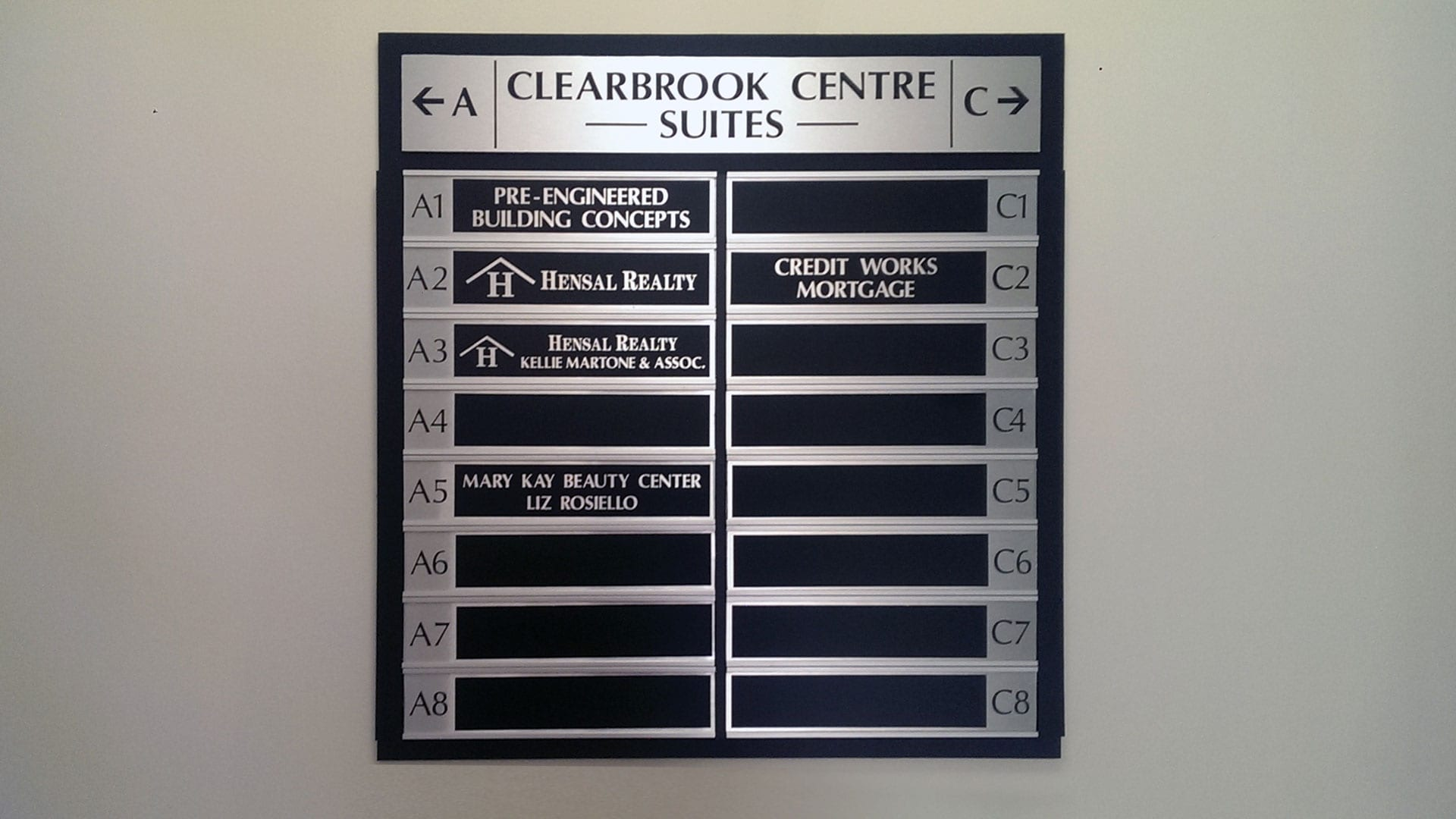 Clearbrook Centre Suites interior directories sign