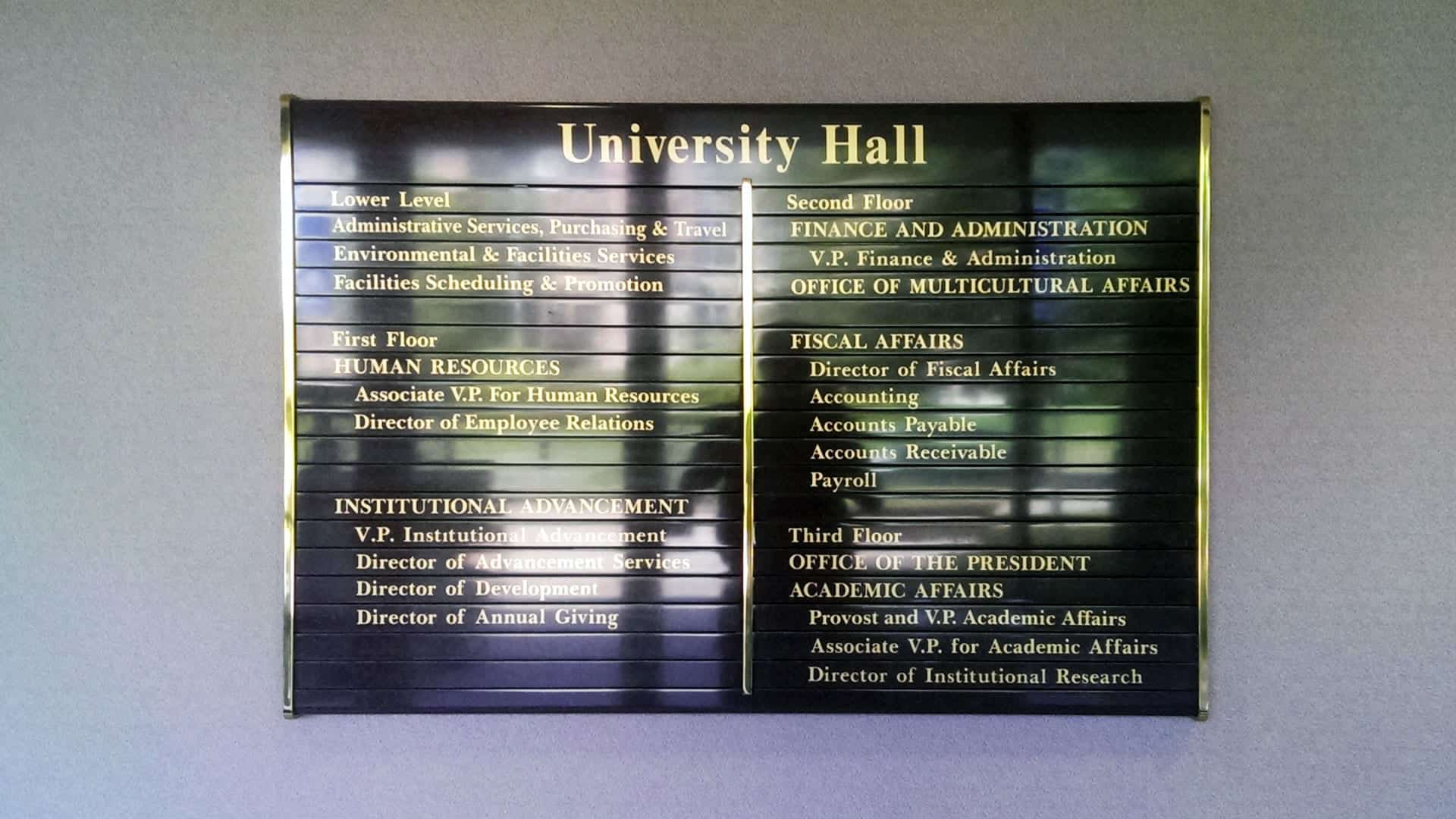 Interior directory for University Hall