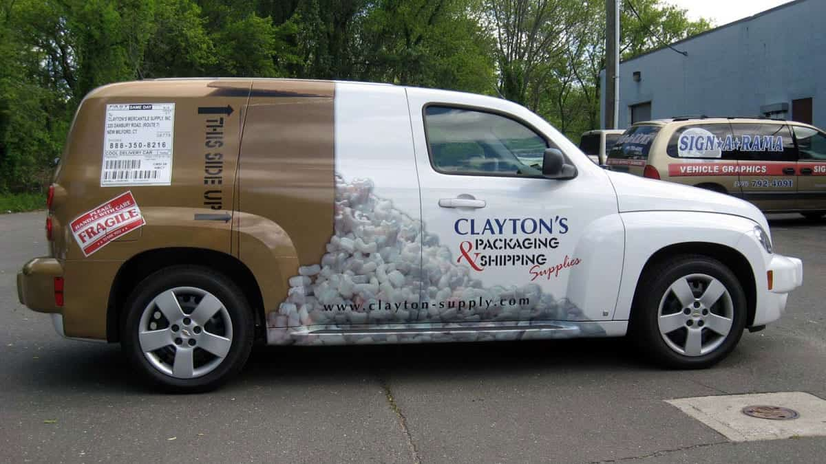 Clayton's Packing & Shipping - Car Wraps - Lettering