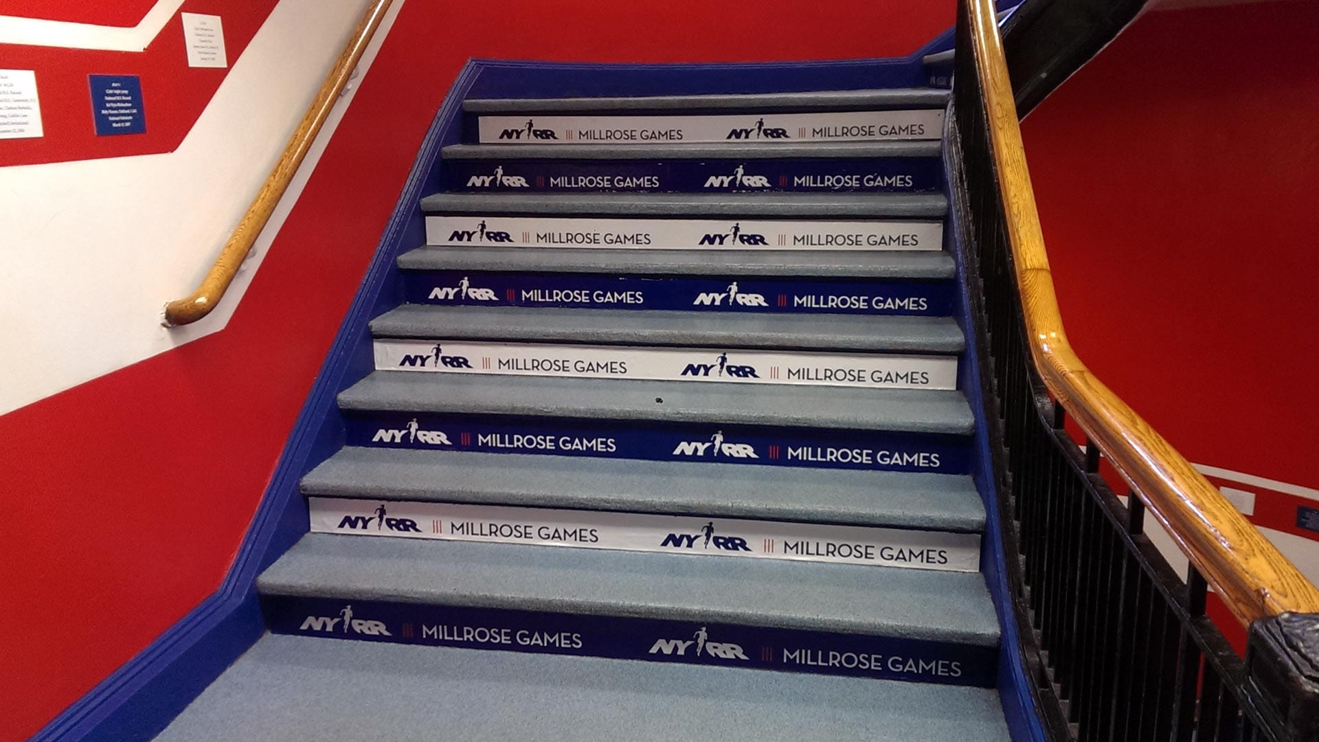 Stair wrap promoting a sporting event