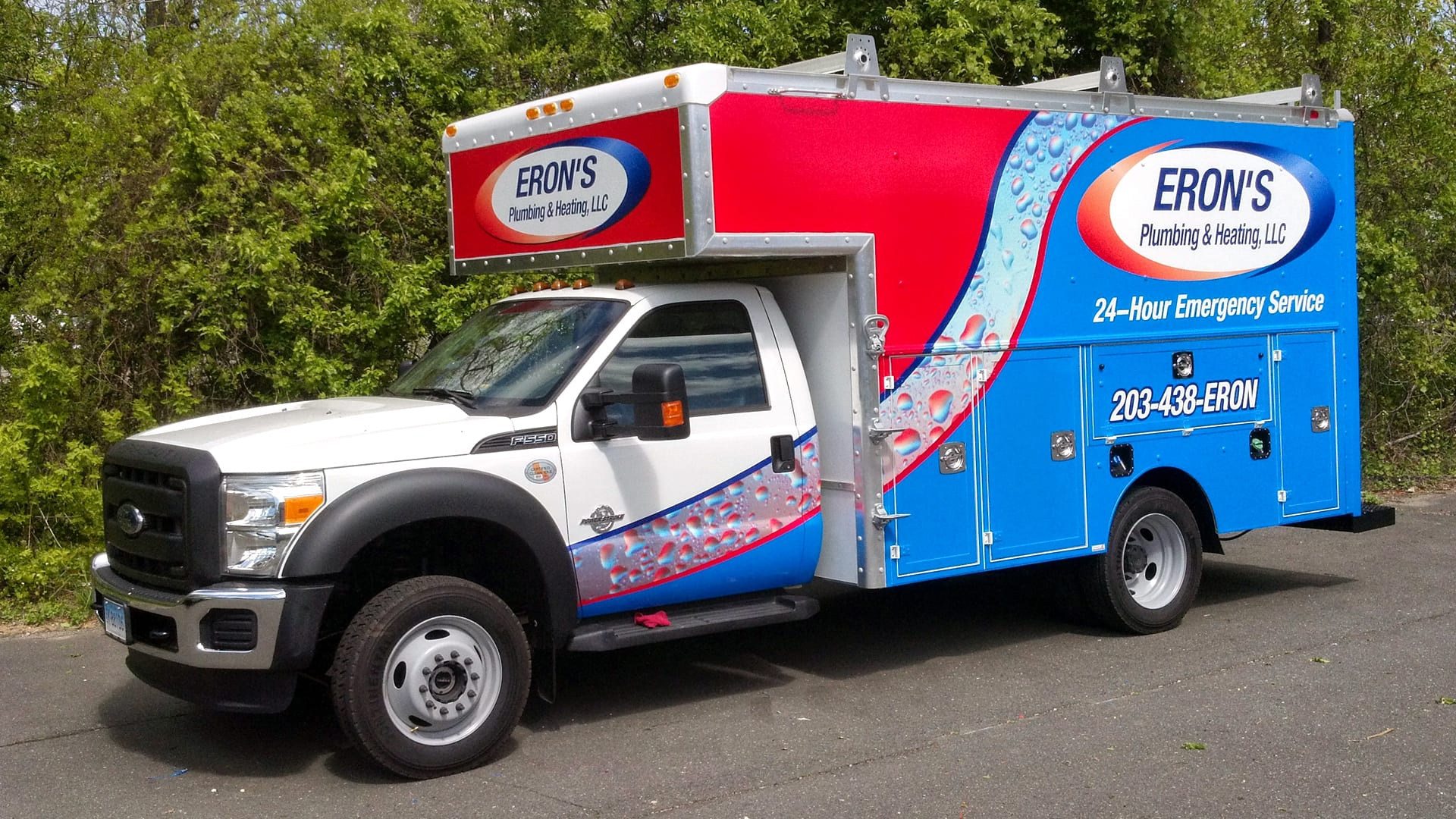 Truck wrap advertising a business