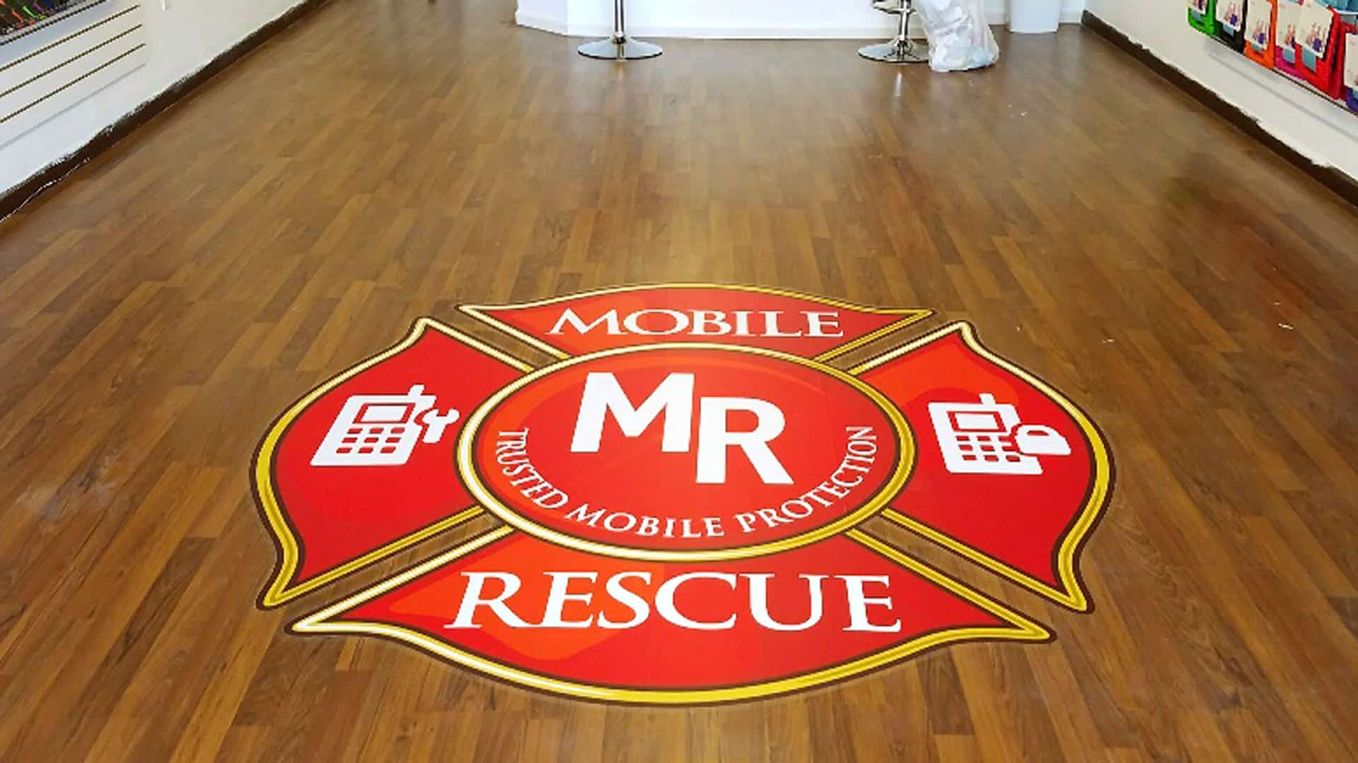 Floor graphic of the Mobile Rescue Logo