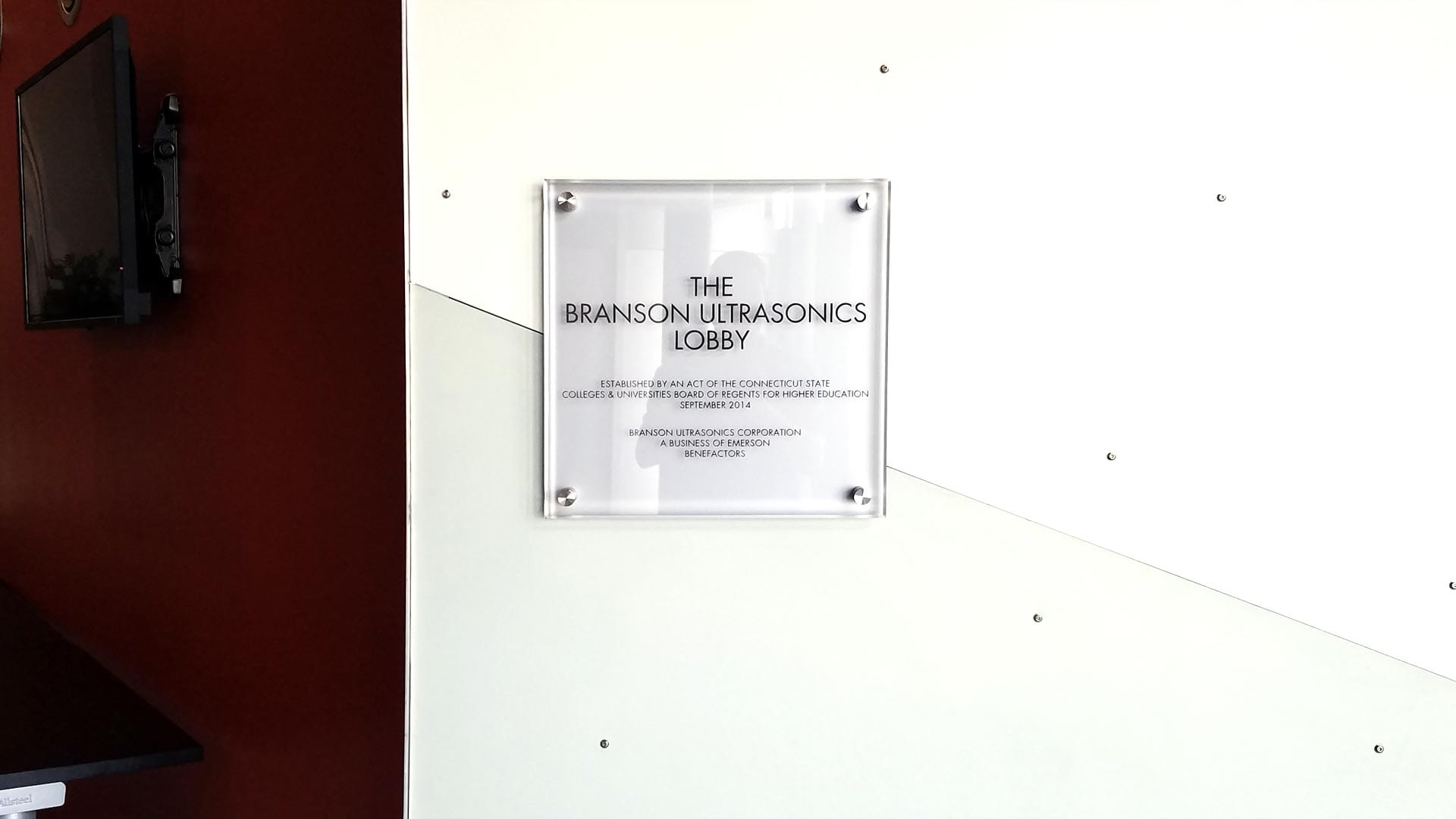 Glass Plaque for Branson Ultrasonics Lobby - Plaques